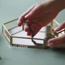 Поднос  из стекла с зеркальным дном   3049/5